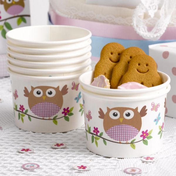Little Owls Pink Ice Cream / Treat Tubs (8)